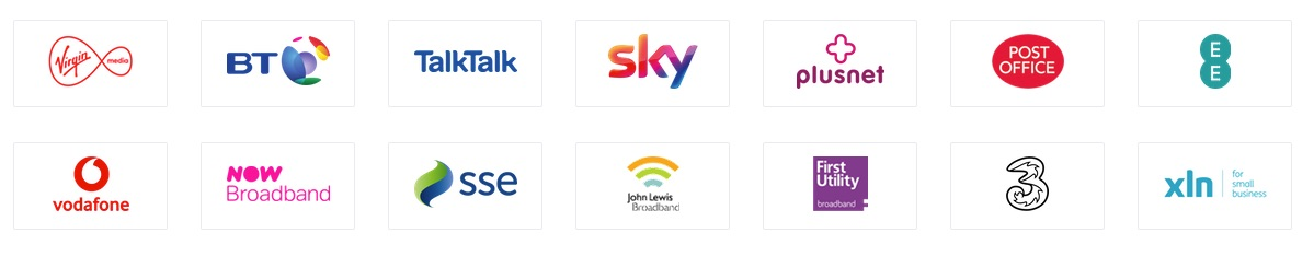 Logo's of Internet Service Providers. Changing ISP could improve slow internet in the home office